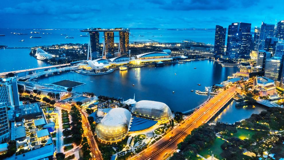 El Gran Hotel Marina Bay Sand de Singapur, Vista aerea.