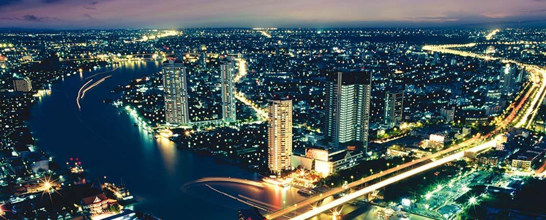 Bangkok, vista aérea nocturna