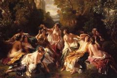 Oleo con el baño de Florinda la Cava, la hija del Conde D. Julian de la que, según el romancero español, se enamoró el rey D. Rodrigo, llegando a deshonrrala, lo que provocó la traición de su padre.