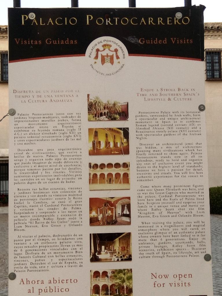 Mural ilustrativo del Palacio Portocarrero en Palma del Río