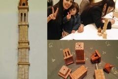 Campanar de piezas montables, que Ricardo Montés regaló a su nieta Júlia el dia de la presentación. Obra de Ricardo Morales.