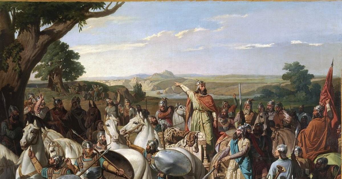 El Rey Don Rodrigo arengando a sus tropas en la batalla de la Laguna de la Janda. Oleo de Bernardo Blanco y Pérez, 1871. Museo del Prado.